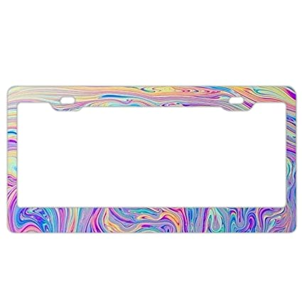 Amazon Yex Abstract Holographic Tie Dye License Plate Frame Car
