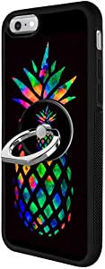 Black iPhone 6s 6 Case with Ring Holder Stand Holder Rainbow Pineapple Pattern 360 Rotation Ring Grip Kickstand Soft TPU and PC Anti-Slippery Design Protection Bumper for iPhone 6s 6