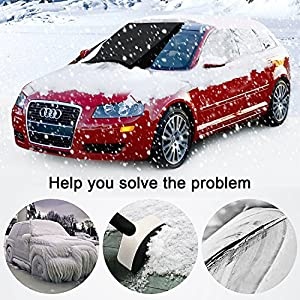 """Car Windshield Snow Cover, Ubegood Windshield Snow and Ice Cover & Sun Shade Protector Waterproof Frost Rain Resistant with Cotton Thicker Protection Cover - Fits for Most Vehicles (72"""" x 46"""")"""
