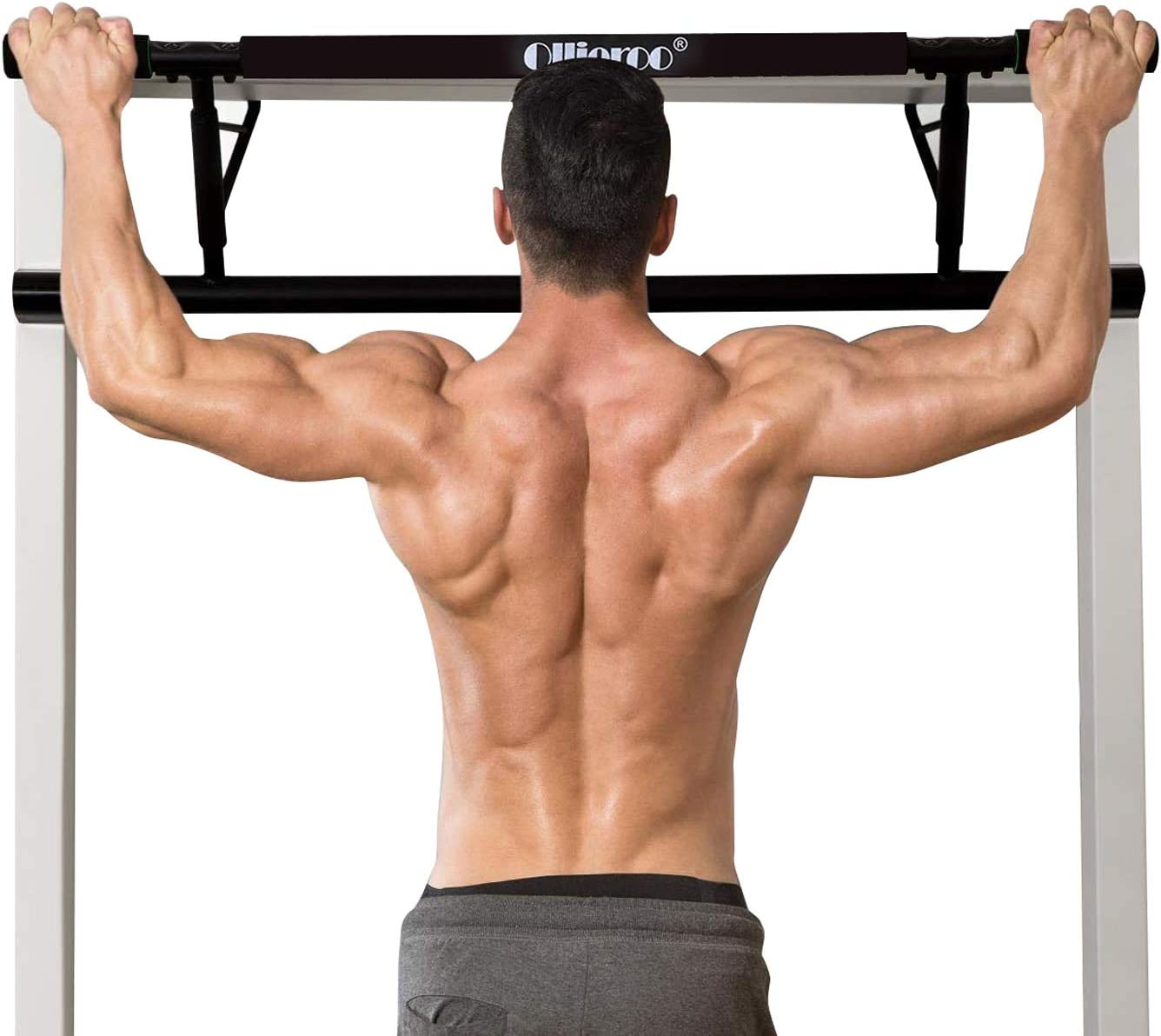 Ollieroo Pull Up Bars Gym Total Upper Body Workout Bar Pull Up Bar Doorway Chin Up Over Door Pull Up Bar Strength Training Bars Multi-Grip Trainer Workout for Home Gym