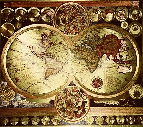 Culturenik World MAP Carte Mundi Vintage Double Hemisphere Etched DUFEX Print FOIL for Desk,Shelf OR Wall (8 x 10 Framed Gold Foil) ()