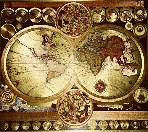 (Culturenik World MAP Carte Mundi Vintage Double Hemisphere Etched DUFEX Print FOIL for Desk,Shelf OR Wall (8 x 10 Framed Gold Foil))