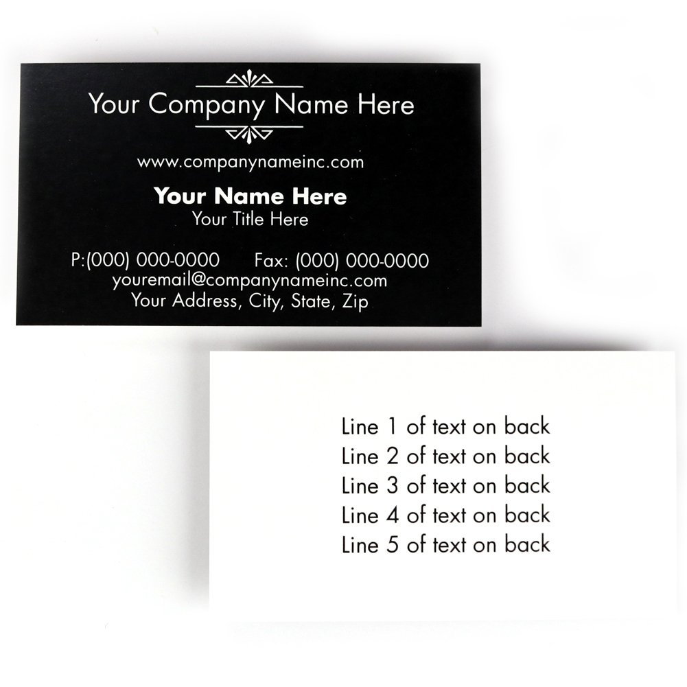 Buttonsmith Custom Black Deco Premium Printed Superfine Business Cards - 3.5''x2'' - Quantity 200 - Double-Sided, Superfine Thick Luxury Touch Stock - Black Deco - Made in The USA