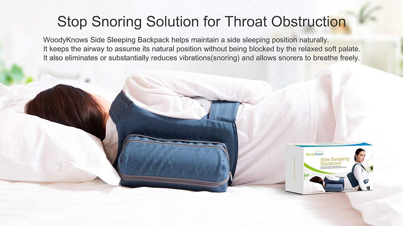 WoodyKnows Combinación de mochila de dormir lateral antirronquidos y dilatadores nasales(Busto>40
