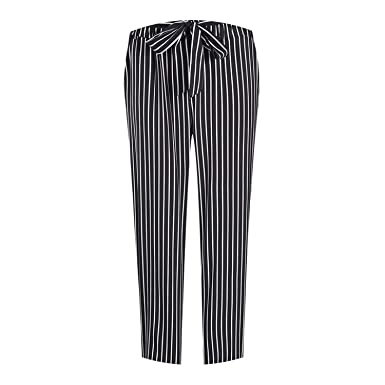 02c965a8e3b High Waist Straight Belt Stripe Pinstripe Oversized Trousers Office Lady Plus  Size Big Large XXXL
