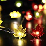 IMPRESS LIFE Maple Leaves Fairy Remote String Lights on 50 LEDs 10 ft Copper Wire for Covered Outdoor, Indoor, Thanksgiving, Christmas, Birthday Parties DIY Decorations
