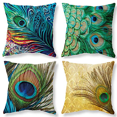 Joyce Peacock Feather Holiday Throw Pillow Case Covers 18x18 Inch Set of 4 - Oil Paniting Feathers White Blue Pink Linen Cotton - Farmhouse Winter Christmas Decorative Throw Pillow Covers Case