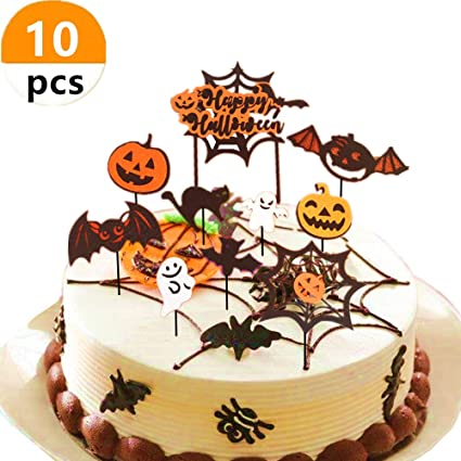 Brilliant Sakolla 10Pcs Halloween Cake Toppers Set Halloween Cake Decoration Personalised Birthday Cards Veneteletsinfo