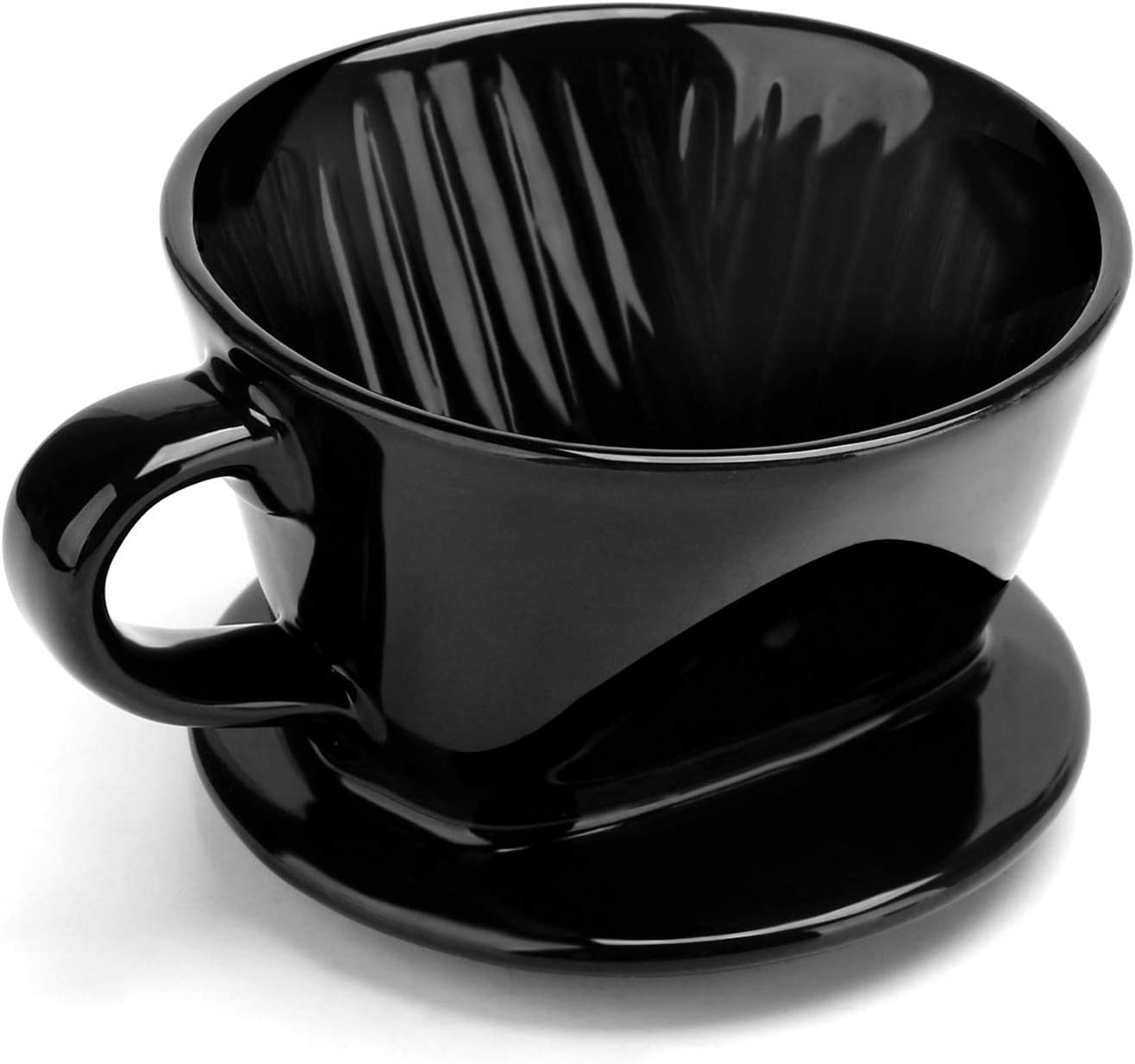 Ceramic Coffee Dripper Filter, Segarty #2 Pour Over Coffee Filter Cup with Grooved Inner for Brewing, 1-4 Cup for Home & Office Used, Portable for Coffee Enthusiast & At-home Baristas, Black