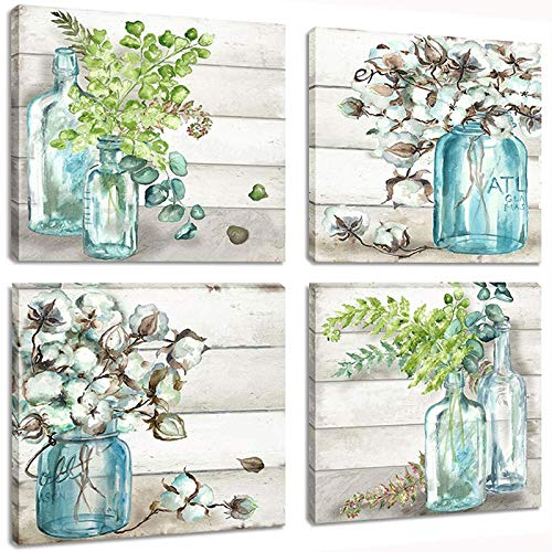 Flower Painting Wall Art Watercolor MasonJar Floral Picture Artwork 4 Panel Modern Oil Painting Print on Canvas for Bedroom Living Ready to Hang