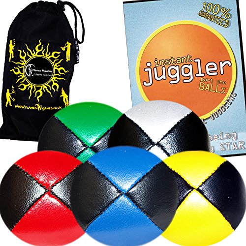 5x Pro Thud Juggling Balls - Deluxe (LEATHER) Professional Juggling Ball Set of 5 + INSTANT Ball Juggling DVD of Tricks, and Fabric Travel Bag! (Mix of colors) by Flames N Games Juggling Ball Sets