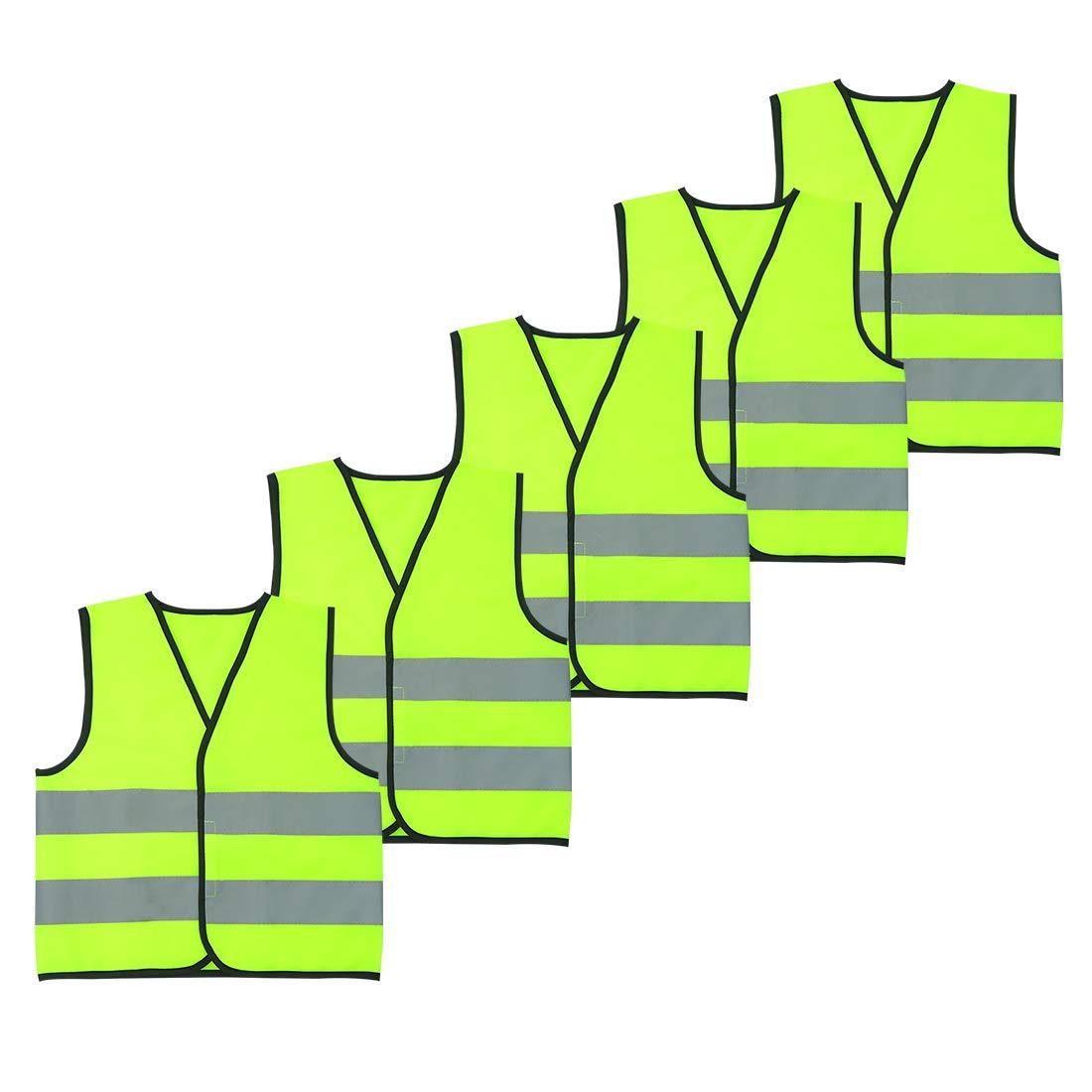 AIEOE 10 Pi/èces Enfant Gilet Fluorescent de S/écurit/é Durable Veste Haute Visibilit/é sans Manches Fille Gar/çon Gilet R/éfl/échissant V/élo Running Randonn/ée Fluorescent Orange