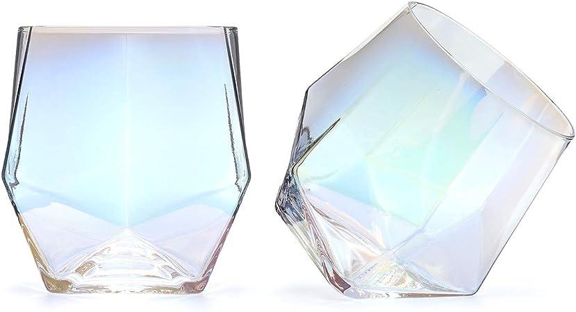 CKB Ltd - Juego de 2 vasos de cristal con diseño de diamante brillante