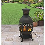 Antique Bronze 360-Degree View Of Fire 360-Degree View Of Fire Big Size Poker Included Cast Iron Chiminea With Nylon Cover, Dimensions 22.8Lx22.8Wx45.7H
