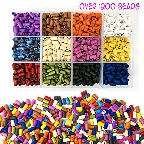 Over 1,200 Ceramic Tube Beads for Jewelry Making with Free Genuine Leather Cord Necklace - Handmade Colorful Premium Quality Craft Bead Kit - Unique Craft ()