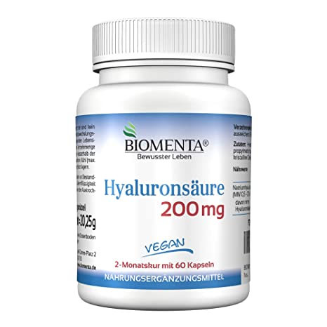 Biomenta ACIDO HIALURONICO - dosis alta - 60 VEGANO Acido Hialuronico Capsulas - 2 Meses