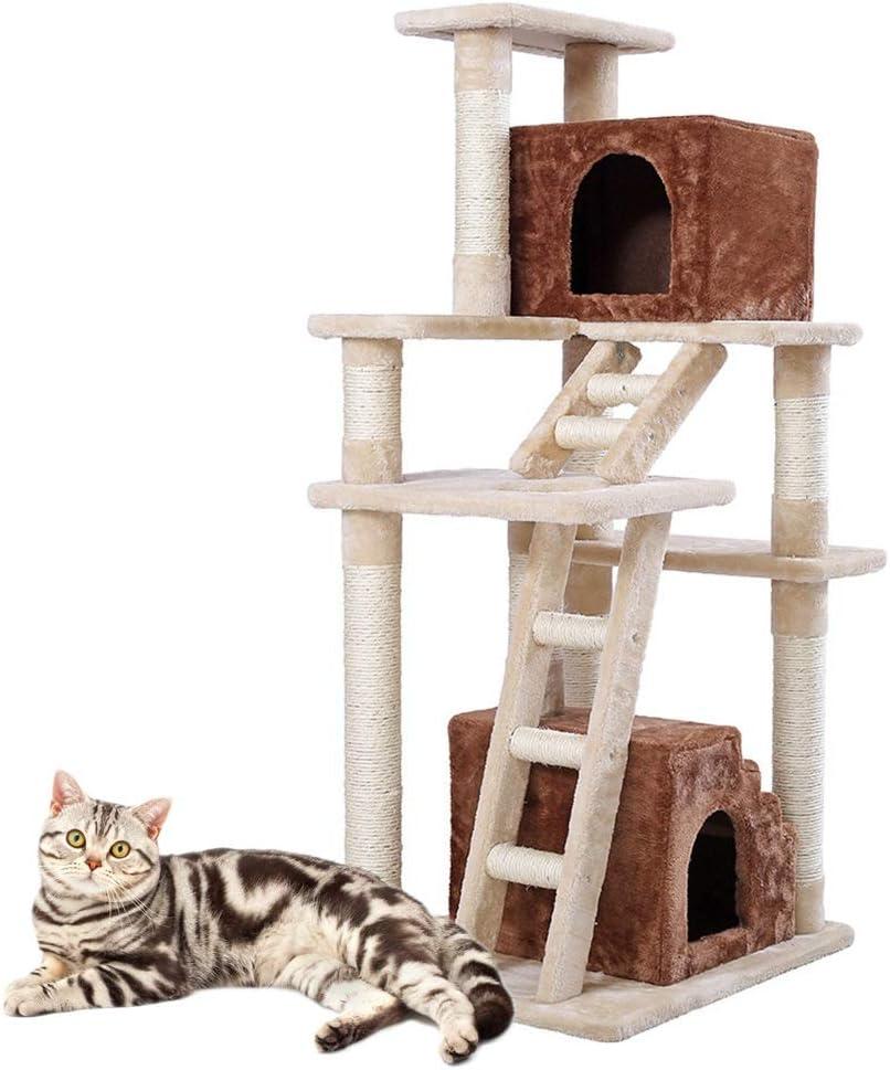 キャットタワー プラットフォームベント研削は、ツリーキャットスクラッチボード猫のおもちゃ猫クライミングクライミングボードペットの猫のトイレ猫のスクラッチ 安定性抜群 (Color : Picture color, Size : 148 x 60 x 49cm)