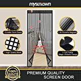 "Mysuntown Magnetic Screen Door. Fit Door Size 34""x82"" Screen Door Mesh with Full Frame Magic Stickers - Good for Kids and Dogs"