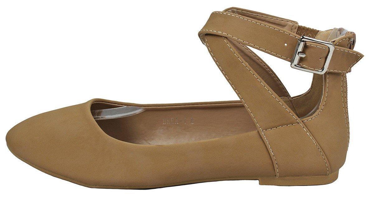 JJF Shoes Women Criss Cross Elastic Strap Round Toe Back Zip Comfort Loafer Ballet Dress Flats B01MXE2Y1T 8 B(M) US Tan_brea