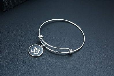 2 cm r/églable Jo Wisdom Bracelet Om en argent sterling 925 avec amulette de yoga pour fille et femme 18 cm