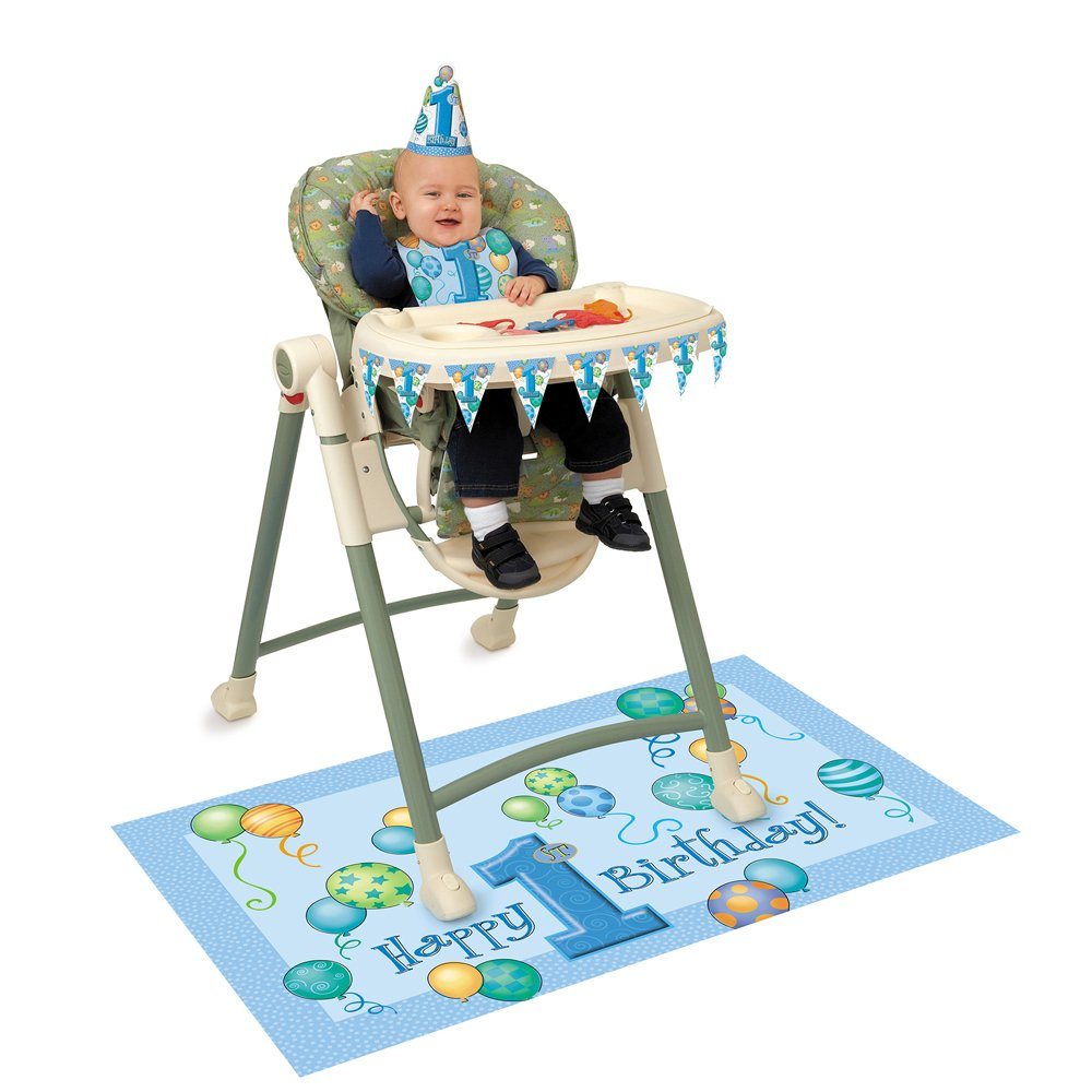 Blue 1st Birthday High Chair Decorating Kit 4pc