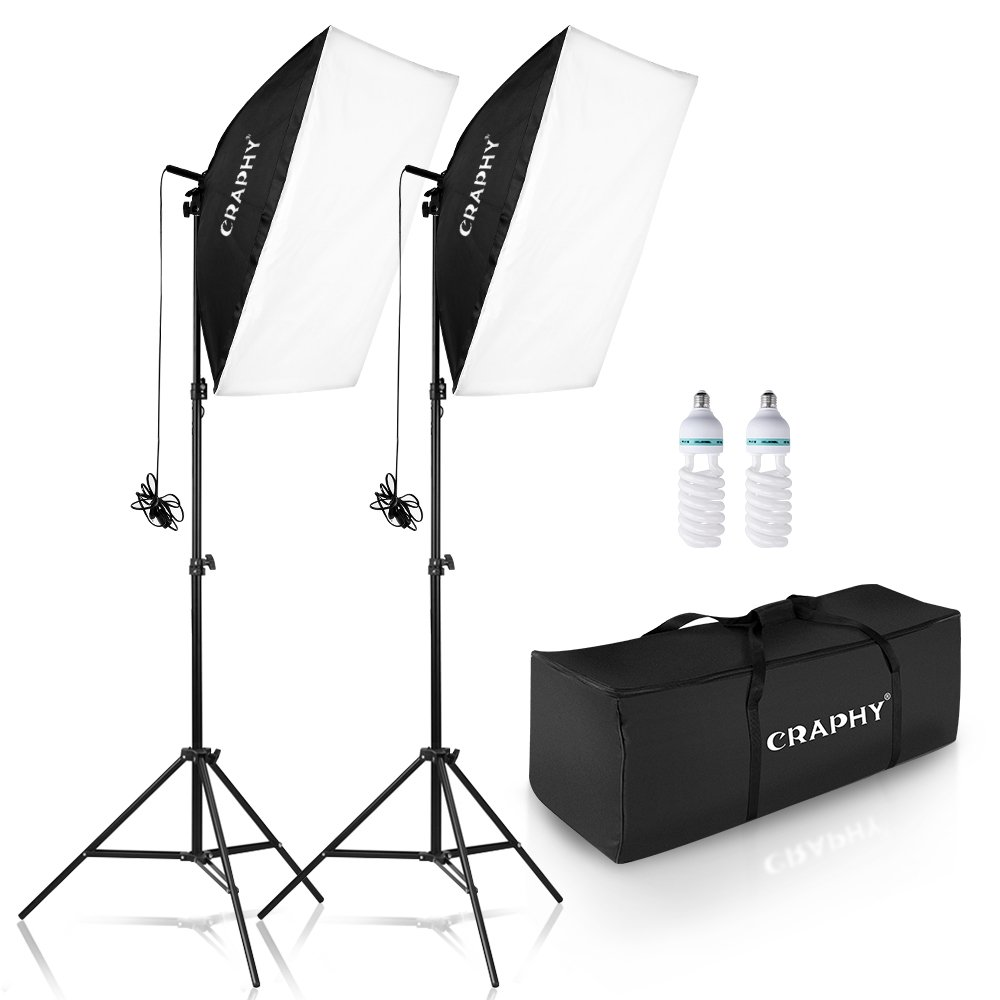 CRAPHY 700W 5500K Photography Studio Soft Box Lighting Kit Continuous Light Equipment for Portrait Video Shooting (20x28 Softbox + 80' Tall Light Stand + Carrying Bag)