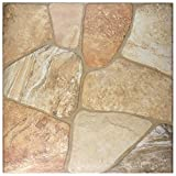 SomerTile FAZ18LYB Leon Ceramic Floor and Wall Tile, 17.75'' x 17.75'', Beige