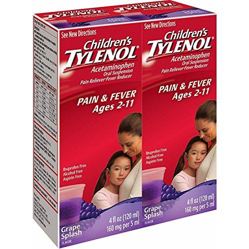 4 Flu Liquid - Children's Tylenol Grape Splash Flavored Liquid, 4 Fl. oz, 2 pk.