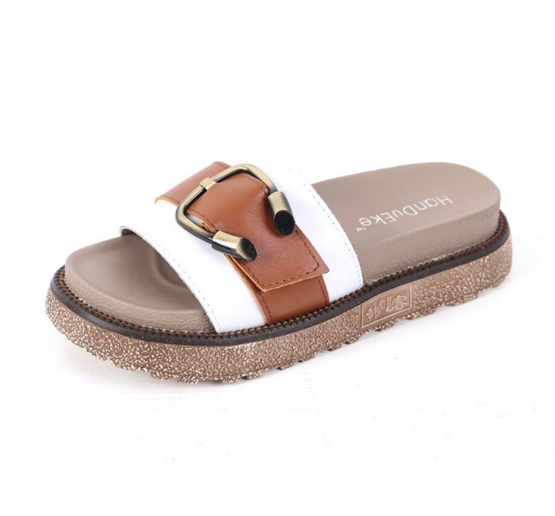 Frauen Hausschuhe Sommermode Außerhalb Shopping Sandalen Metallschnalle Sandalen Mädchen Outdoor Comfort Schuhe (Weiß Schwarz 34-43) ( Color : Weiß , Größe : 38 )  38 Wei?