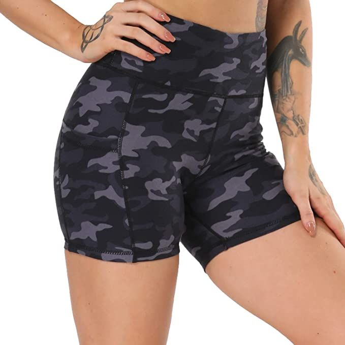 NexiEpoch Yoga Shorts for Women - High Waist Tummy Control Stretch Biker Shorts with Side Pockets for Workout, Training