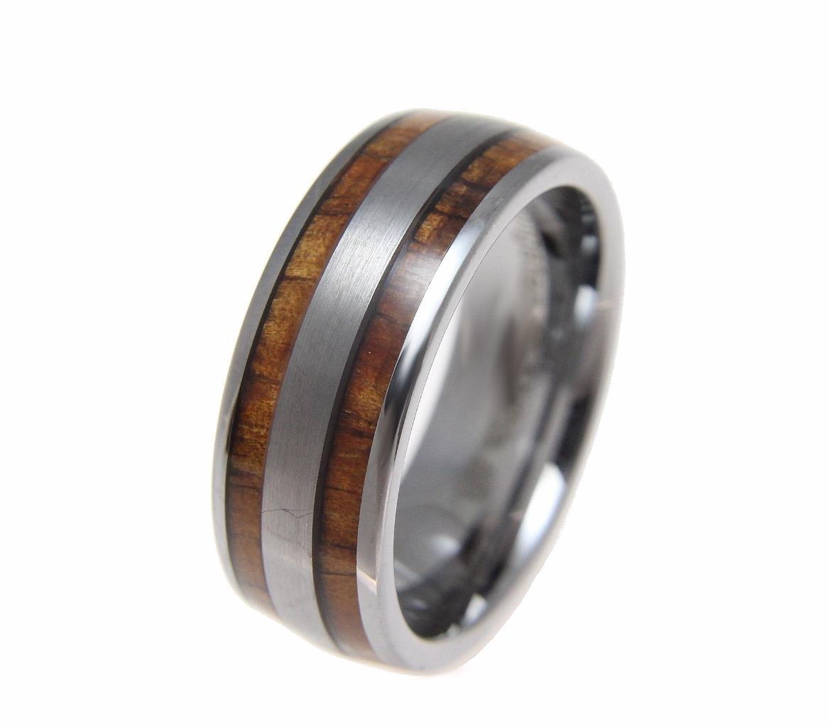 Tungsten 8mm wedding band ring Hawaiian koa wood inlay comfort fit size 13