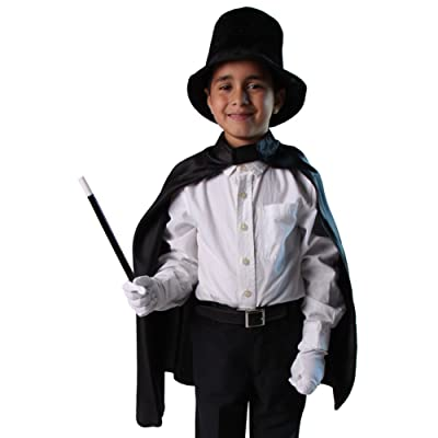 "Kids Unisex Magician Set (Black 24"" Deluxe Cape, Black Hat, Gloves and Wand): Health & Personal Care"