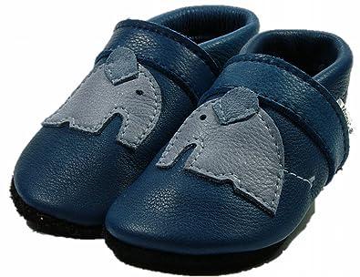 Mopu's® Krabbelschuhe - ÖKOLEDER - Exklusiv in blau mit hellblauem Elafant - handgemachte Markenqualität aus Deutschland z3ltrJZvCI