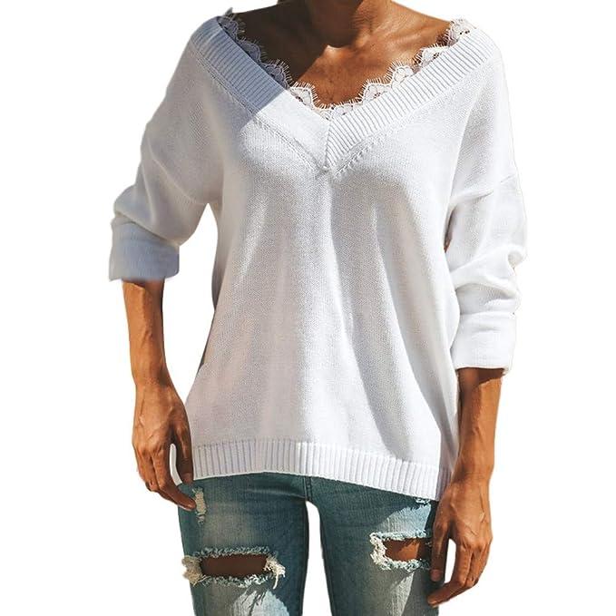 Ropa Camisetas Mujer, Patchwork de Encaje Blusa para Mujer Camisetas Mujer Camisas Mujer Tops Tallas Grandes Mujer: Amazon.es: Ropa y accesorios