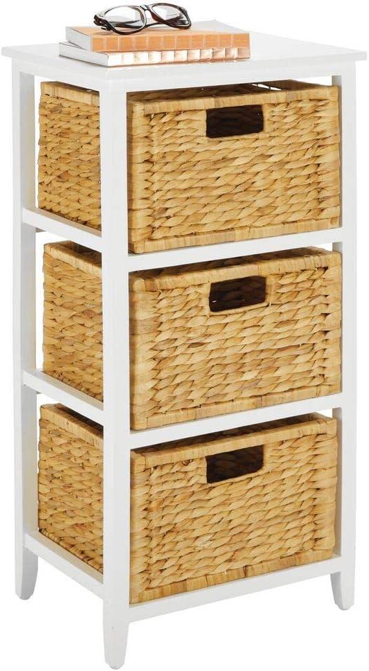 mDesign Beistelltisch mit 3 Schubladen K/üche oder Wohnzimmer schmales Regal mit K/örben aus geflochtener Wasserhyazinthe wei/ß und bambusfarben nat/ürliches Standregal f/ür Schlafzimmer