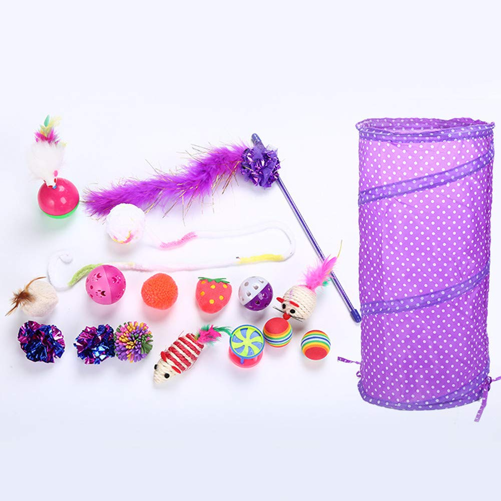 CoCocina 17 Piece Interaction Cat Toy Set Tunnel Ring Paper Ball Funny Cat Stick Plastic Bell Feather