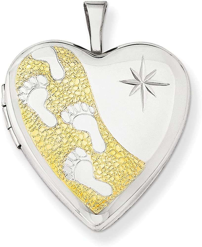 .925 Sterling Silver Gold-Plated Footprints Heart Locket Charm Pendant