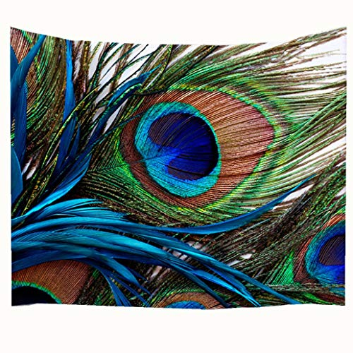 (Goodbath Peacock Feather Tapestry, Indian Hippie Tapestries Bohemian Mandala Wall Hangings for Bedroom Living Room Dorm, 80 x 60 Inch,Blue Green)
