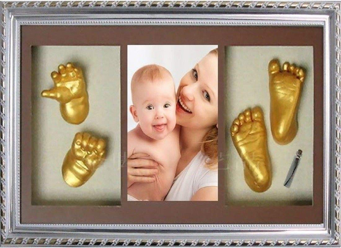 New Large Baby Casting Kit Gift Gold Hand /& Feet Casts Beech Wood Effect Frame