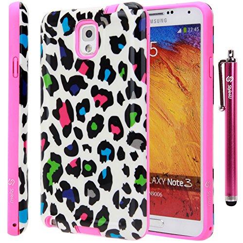 Style4U Samsung Galaxy Note 3 Case - Colorful Leopard Design Slim Fit Hybrid Armor Case for Samsung Galaxy