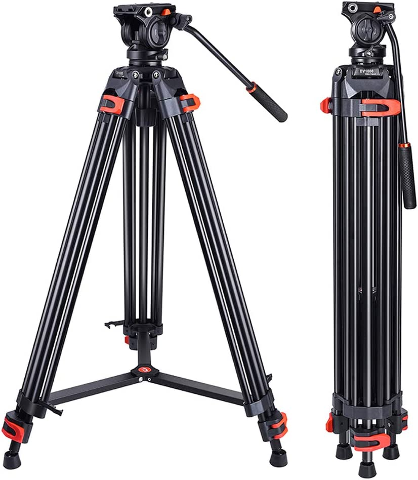 Heavy Duty Tripod Professional Video Tripod Aluminium 72inch with 360 Degree Fluid Head for Canon Nikon DSLR Camcorder Cameras