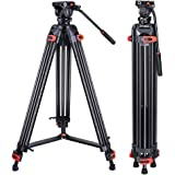 Heavy Duty Tripod Professional Video Tripod Aluminium 72inch with 360 Degree Fluid Head for Canon Nikon DSLR Camcorder Camera