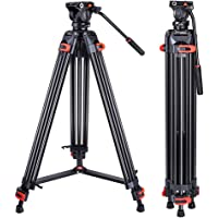 Heavy Duty Tripod Professional Video Tripod Aluminium 72inch with 360 Degree Fluid Head for Canon Nikon DSLR Camcorder…