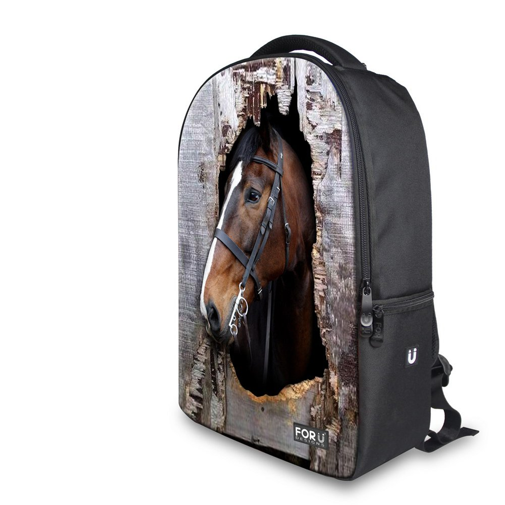 f6847970b7a Amazon.com   FOR U DESIGNS Cool Small 3d Animal Bag Pack Horse Backpack for  Teenagers   Kids  Backpacks