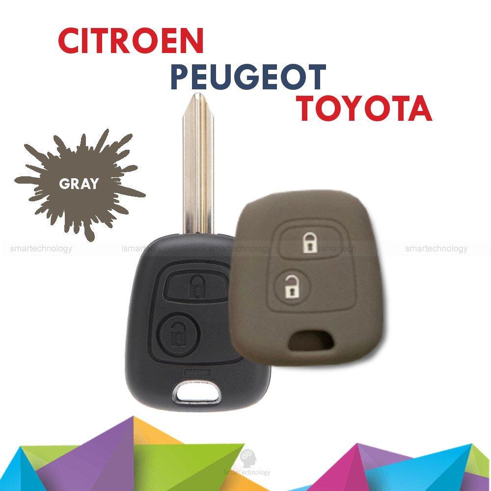 Carcasa Caparazón Multicolor Material Silicona Suave para concha Llave 2 Teclas Coche Toyota Aygo (10 fantásticos colores rojo