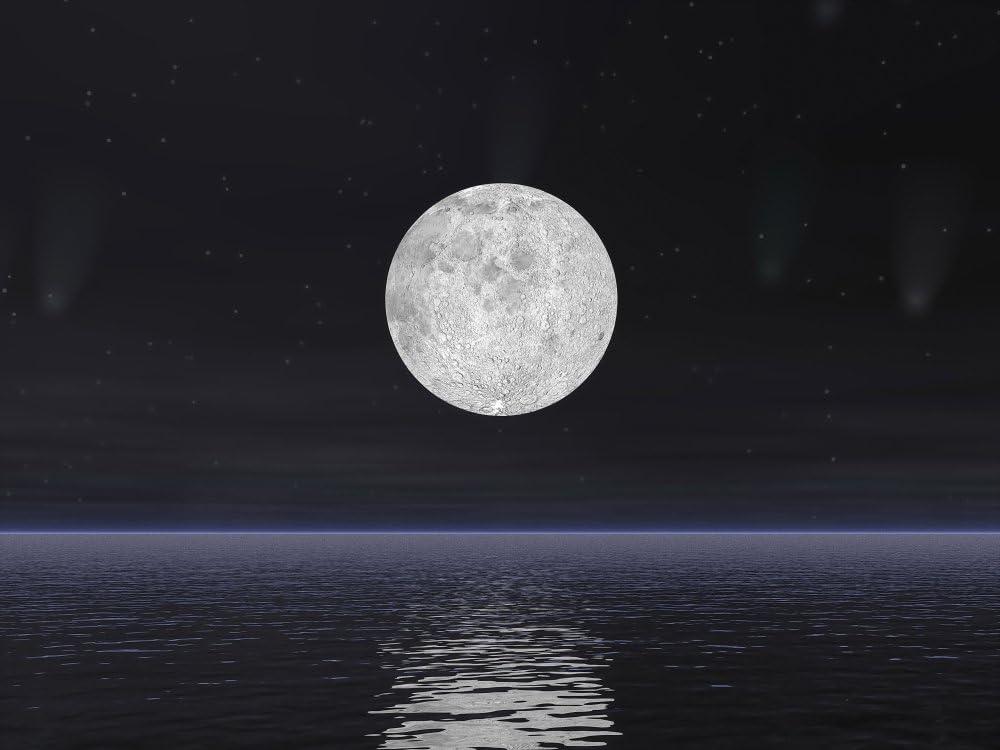 FULL MOON SEA TIDE BEACH NIGHT PHOTO ART PRINT POSTER PICTURE BMP969B