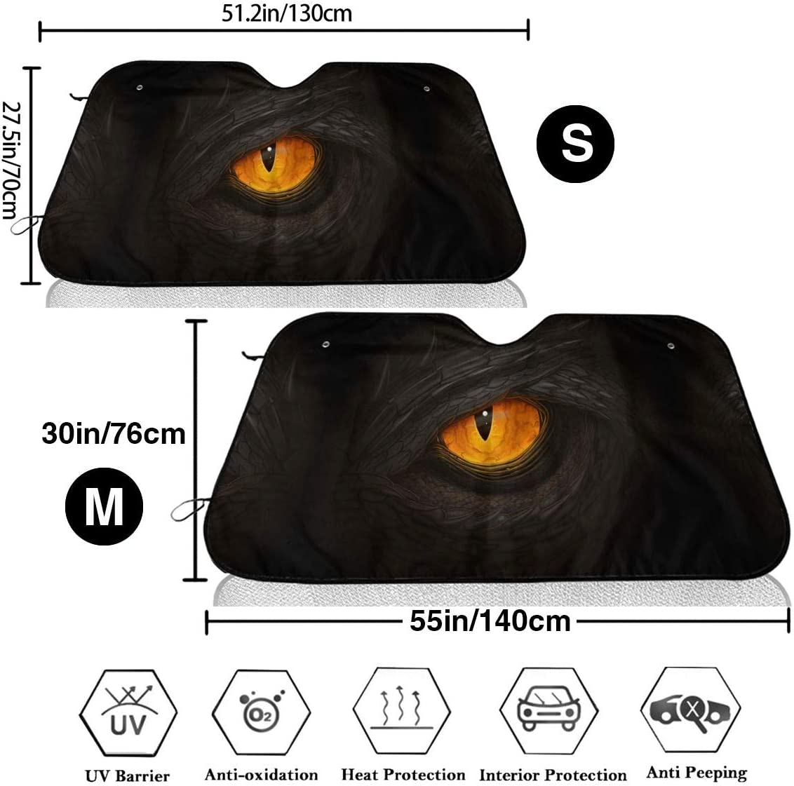 Bargburm Green Dinosaur Yellow Eye Car Windshield Sun Shade Foldable Front Window Sun Shade for Truck SUV Cover