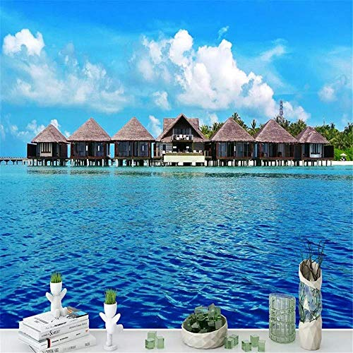 South Seas Hut - Wallpaper Wall Painting 3D Phuket South Asia Seaview Hut Seascape Mural Landscape Living Room Bedroom TV Sofa Background Wall Decoration Home Decor,150CM×105CM
