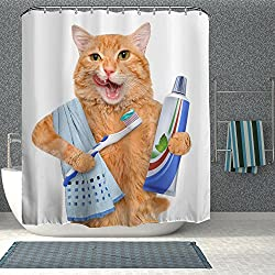 Cat Shower Curtain Brushing Teeth Design Waterproof Antibacterial Eco