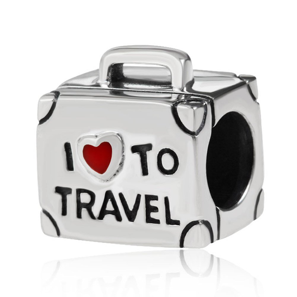 ENJOOOY Holiday Fun Viewing-Travelling Theme 925 Silver Charm Beads I Love Travel Compatible with Pandora Style Bracelets (Silver Travel Bag)